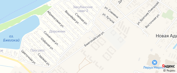 Южная улица на карте аула Новой Адыгеи с номерами домов