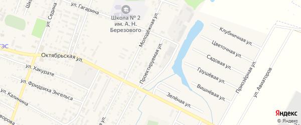 Проектируемая улица на карте поселка Энема с номерами домов