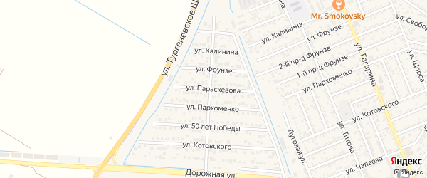 Улица Параскевова на карте Яблоновского поселка с номерами домов