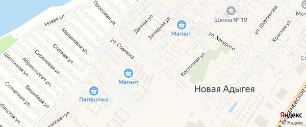 Краснодарская улица на карте аула Новой Адыгеи с номерами домов