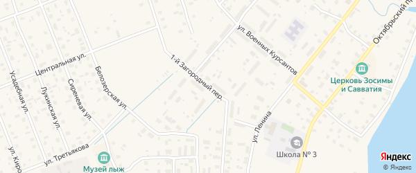 1-й Загородный переулок на карте Каргополя с номерами домов