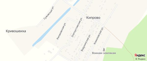 Лесная улица на карте деревни Кипрово с номерами домов