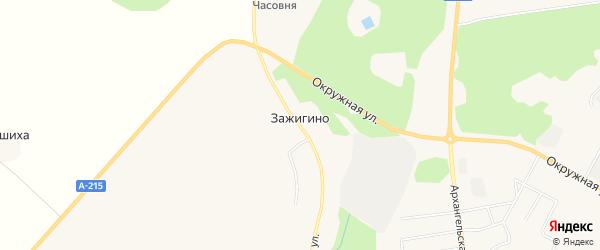 Карта деревни Зажигино в Архангельской области с улицами и номерами домов