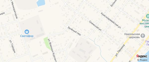Зеленый переулок на карте Каргополя с номерами домов