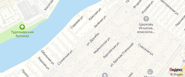 Улица Дружбы на карте аула Новой Адыгеи с номерами домов