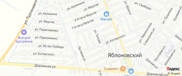 Лабинский 1-й проезд на карте Яблоновского поселка с номерами домов