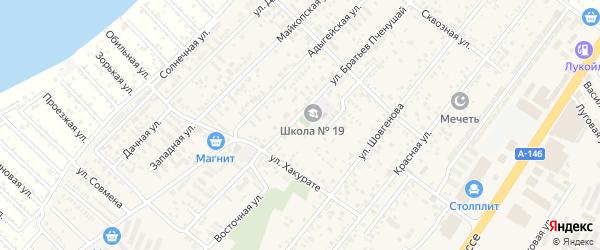 Совхозный переулок на карте аула Новой Адыгеи с номерами домов