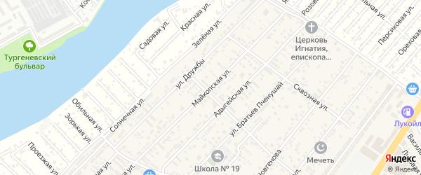 Майкопская улица на карте аула Новой Адыгеи с номерами домов
