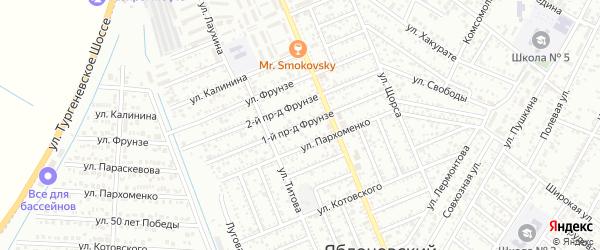 Фрунзе 1-й проезд на карте Яблоновского поселка с номерами домов