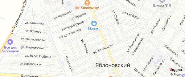 Черноморский 2-й проезд на карте Яблоновского поселка с номерами домов