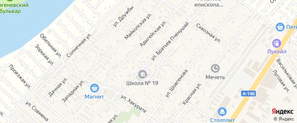 Улица Братьев Пченушай на карте аула Новой Адыгеи с номерами домов