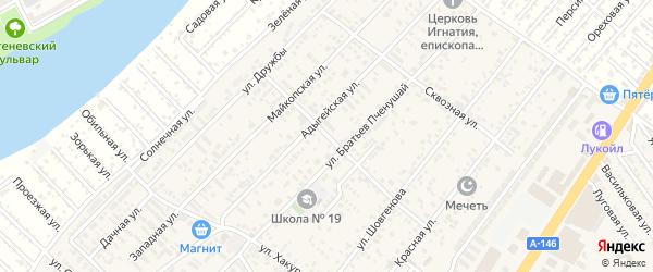 Совхозная улица на карте аула Новой Адыгеи с номерами домов