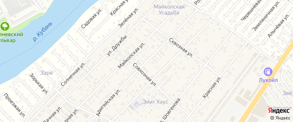 Адыгейская улица на карте аула Новой Адыгеи с номерами домов