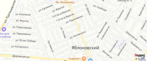 Черноморский 1-й проезд на карте Яблоновского поселка с номерами домов