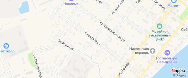 Онежская улица на карте Каргополя с номерами домов