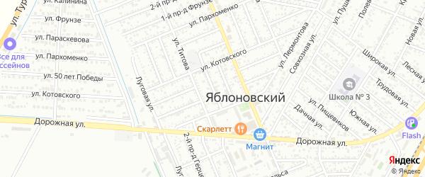 Чапаева 2-й проезд на карте Яблоновского поселка с номерами домов