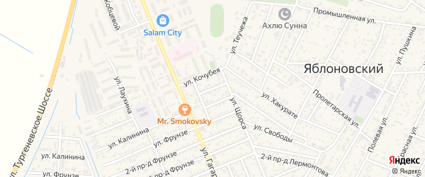 Кочубея 3-й проезд на карте Яблоновского поселка с номерами домов