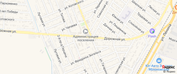 Дорожная улица на карте Яблоновского поселка с номерами домов