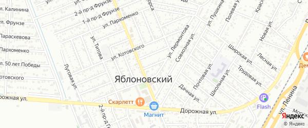 Котовского 1-й проезд на карте Яблоновского поселка с номерами домов