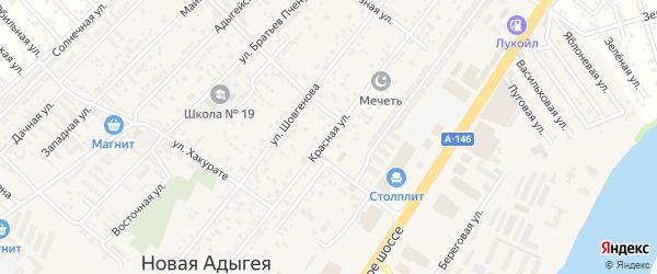 Красная улица на карте аула Новой Адыгеи с номерами домов
