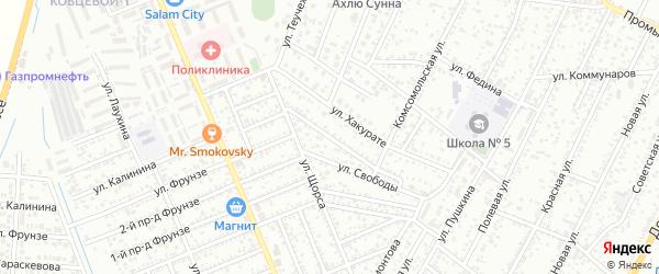 Рабочий переулок на карте Яблоновского поселка с номерами домов