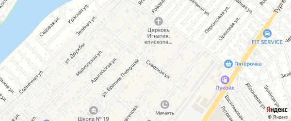 Сквозная улица на карте аула Новой Адыгеи с номерами домов