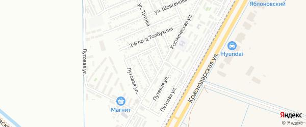 Космический переулок на карте Яблоновского поселка с номерами домов
