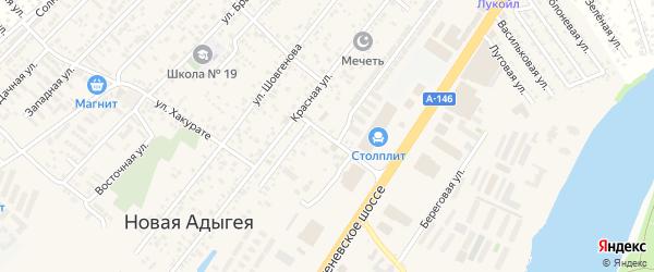 Кубанская улица на карте аула Новой Адыгеи с номерами домов