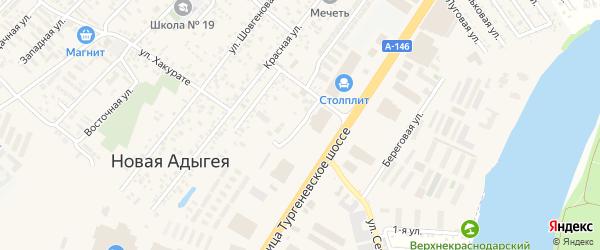 Шоссейная улица на карте аула Новой Адыгеи с номерами домов