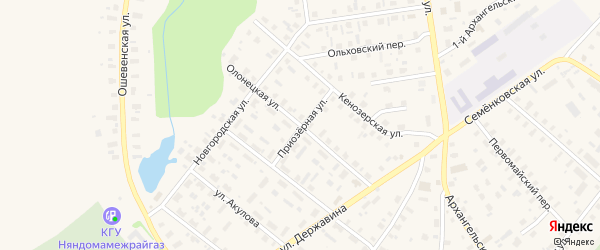 Олонецкая улица на карте Каргополя с номерами домов