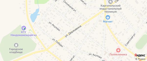 Улица Державина на карте Каргополя с номерами домов