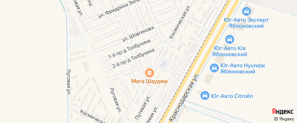 Толбухина 3-й проезд на карте Яблоновского поселка с номерами домов
