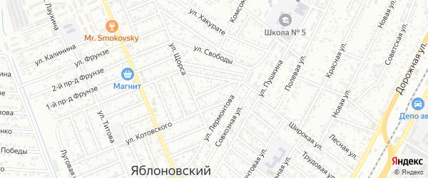 Лермонтова 1-й проезд на карте Яблоновского поселка с номерами домов