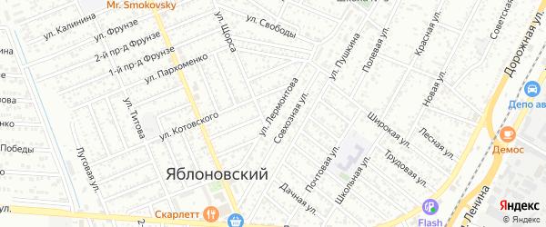Улица Лермонтова на карте Яблоновского поселка с номерами домов