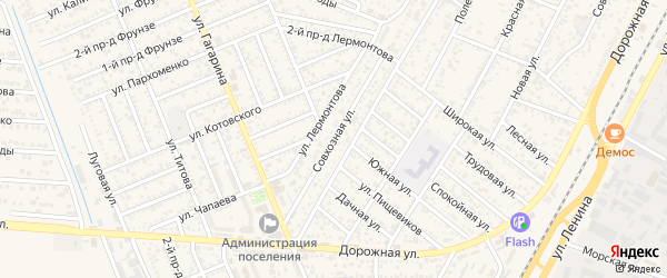 Совхозная улица на карте садового некоммерческого товарищества Зори Кубани с номерами домов
