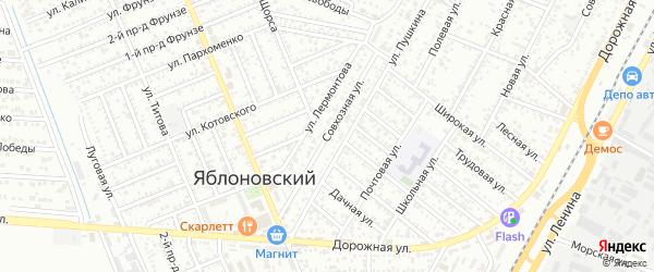 Совхозная улица на карте Яблоновского поселка с номерами домов