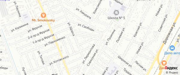 Лермонтова 2-й проезд на карте Яблоновского поселка с номерами домов