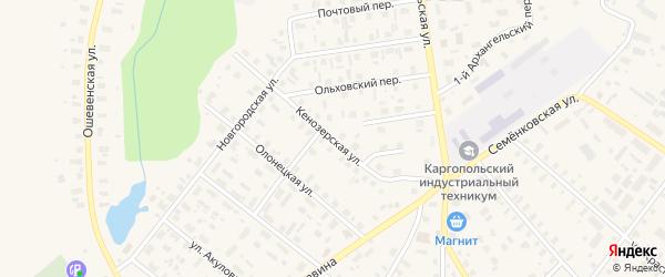Кенозерская улица на карте Каргополя с номерами домов