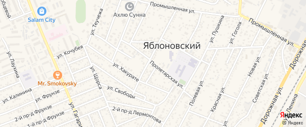 Пролетарская улица на карте Яблоновского поселка с номерами домов