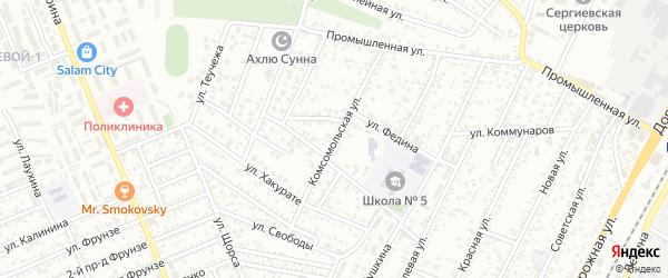 Комсомольская улица на карте Яблоновского поселка с номерами домов