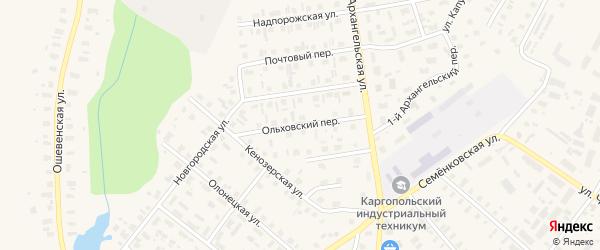 Ольховский переулок на карте Каргополя с номерами домов