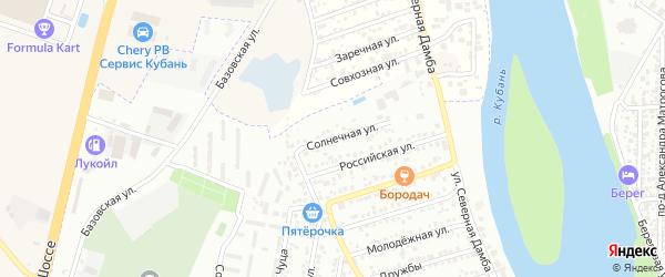 Солнечная улица на карте Яблоновского поселка с номерами домов