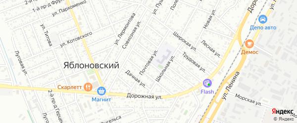 Почтовая улица на карте Яблоновского поселка с номерами домов