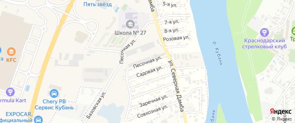 Песочная улица на карте садового некоммерческого товарищества Зори Кубани с номерами домов