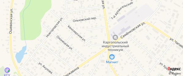Западный переулок на карте Каргополя с номерами домов