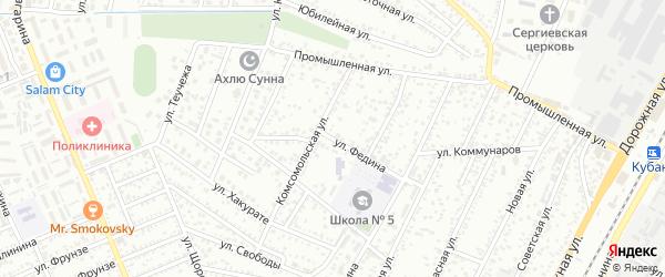 Улица Федина на карте Яблоновского поселка с номерами домов