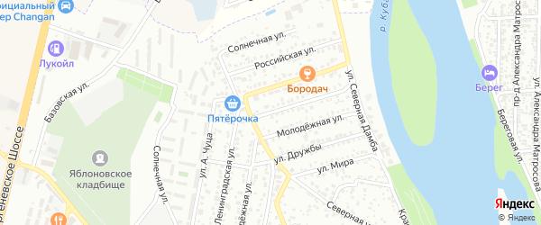 Ленинградская улица на карте Яблоновского поселка с номерами домов