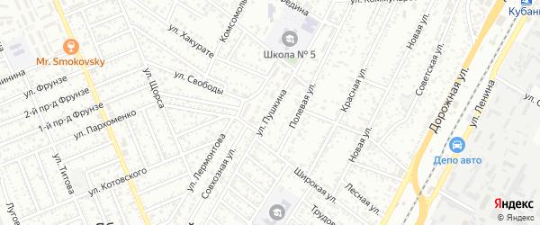 Улица Пушкина на карте Яблоновского поселка с номерами домов