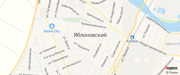 Карта Яблоновского поселка в Адыгее с улицами и номерами домов