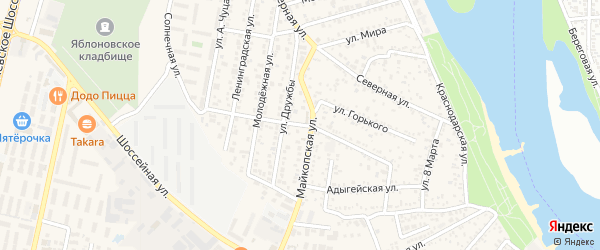 Колхозная улица на карте Яблоновского поселка с номерами домов